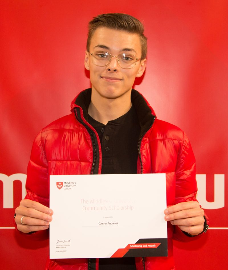 Connor Andrews former Uniformed Public Services student from Barking Dagenham receiving his Middlesex University Community Scholarship crop