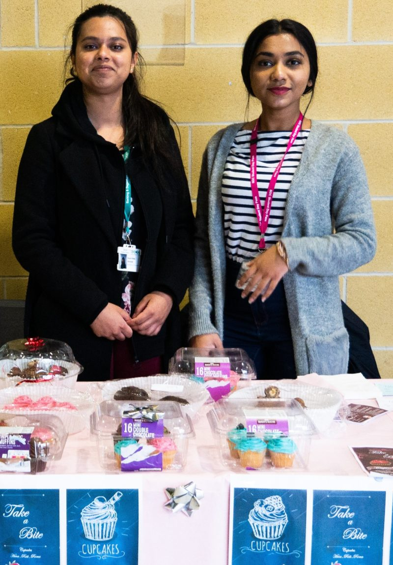 Anjum and Hasnahena sold cupcakes for charity during Global Entrepreneurship Week 2019